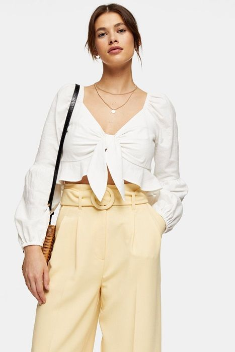 Ivory Textured Knot Front Frill Blouse