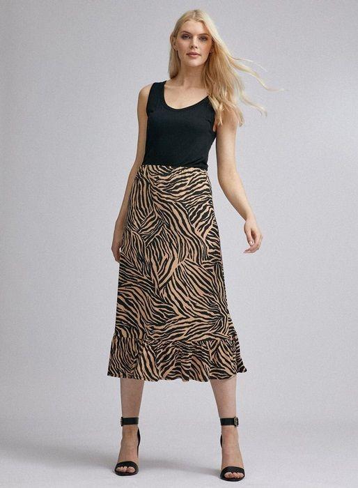 Multi Colour Zebra Print Midi Skirt