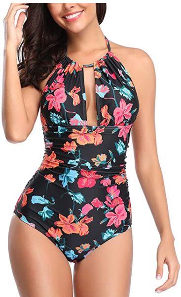 One Piece Swimsuit Tummy Control Swimwear V Neck Bathing Suit