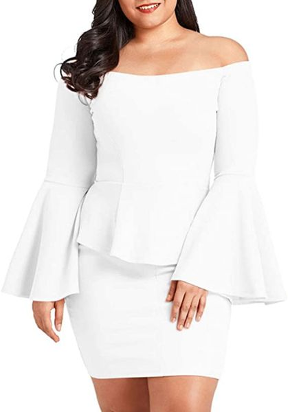 Peplum Off The Shoulder Party Plus Size Mini Dress