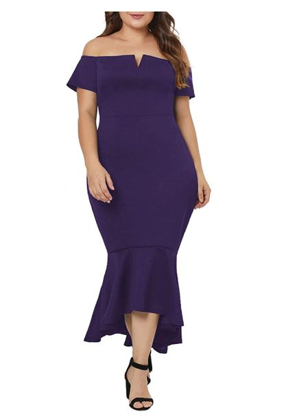 Plus Size Off Shoulder High Low Bodycon Mermaid Evening Party Midi Dress