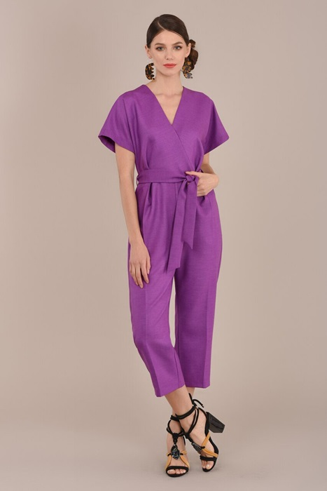 Purple Cropped Jumpsuit with Wrap Neck