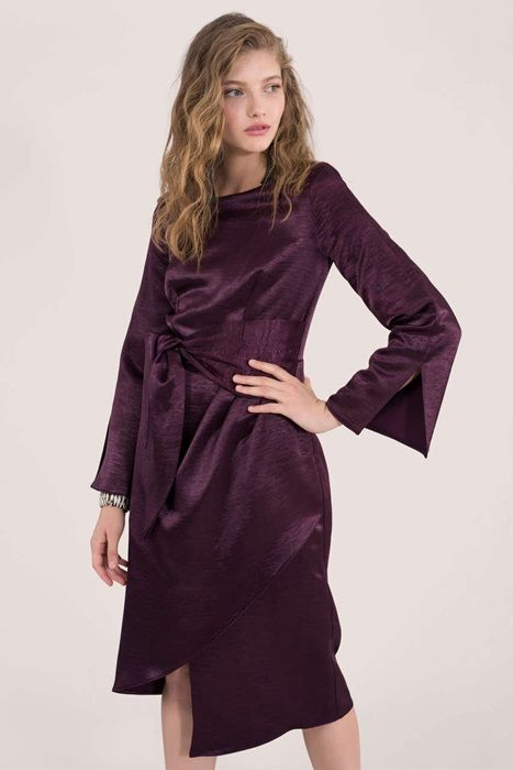 Purple Satin Drape Long Sleeve Dress