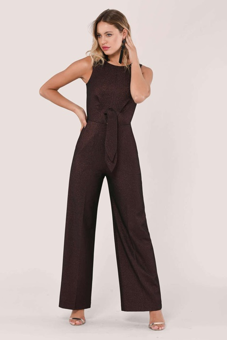 Rose Gold Metallic Tie Front Jumpsuit