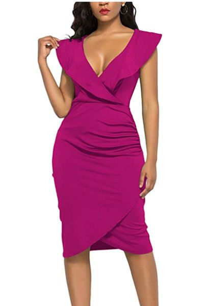 Ruffle Dress Front Slit Bandage Plus Size Midi Club Dresses