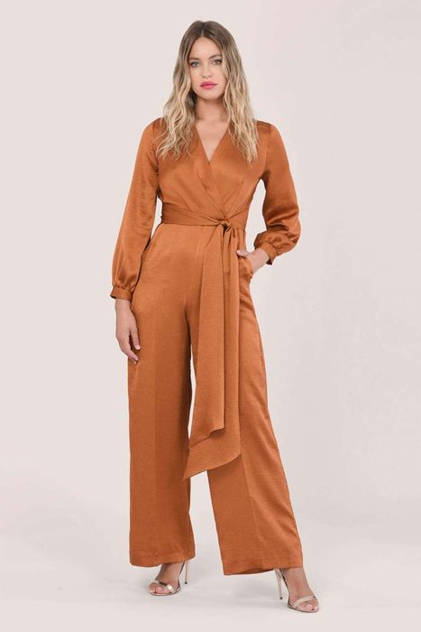 Rust Satin Long Sleeve Wrap Jumpsuit