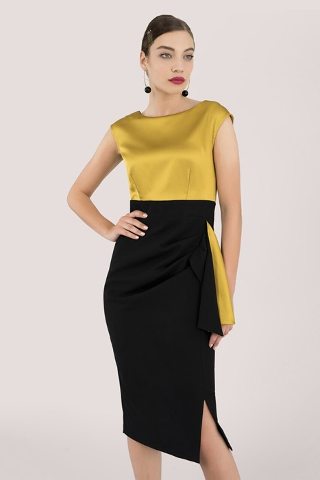 Sleeveless Gold and Black Midi Evening Dress