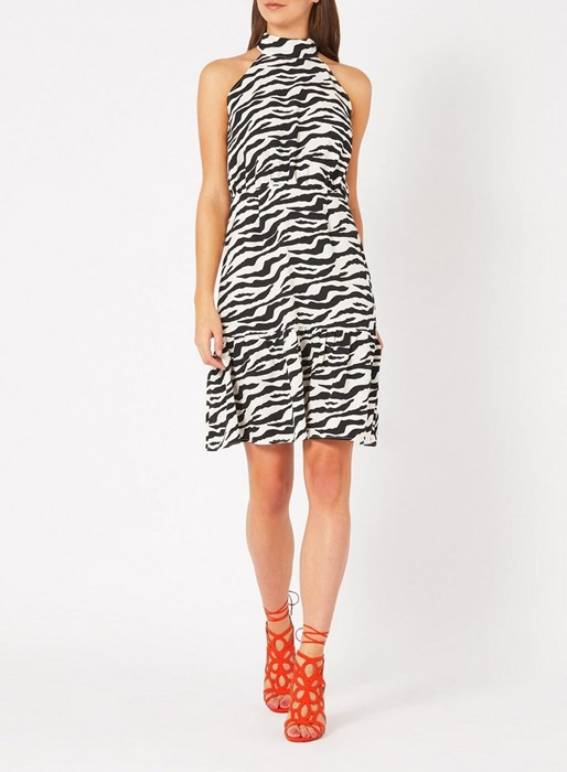 Vesper Monochrome Zebra Print Skater Dress