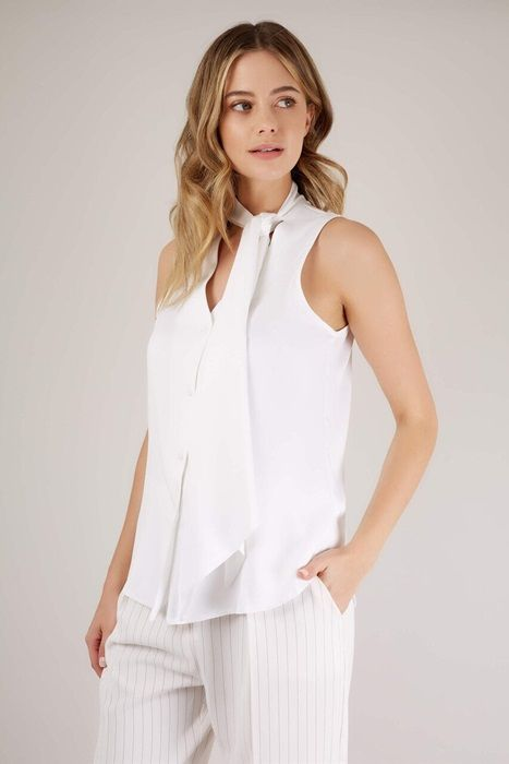 White Sleeveless Pussy Bow Blouse