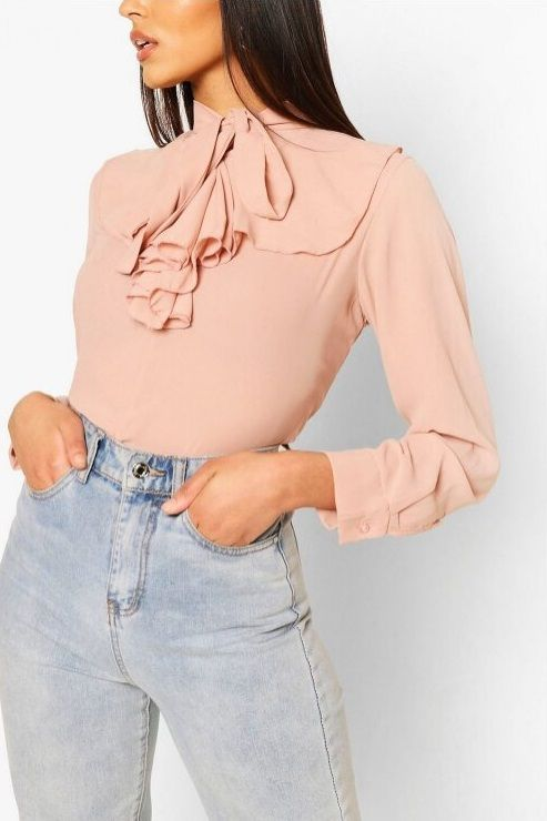Ruffled Pussy Bow Blouse
