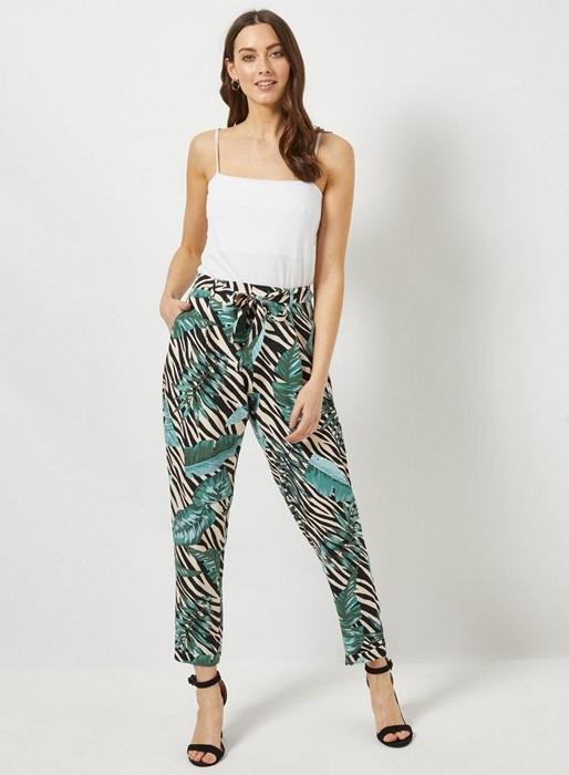 Zebra Palm Print Tie Joggers