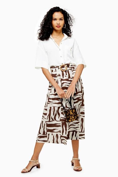 Zebra Print Linen Blend Midi Skirt