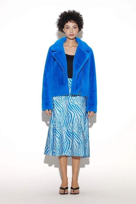 Zebra Print Maxi Skirt in Blue