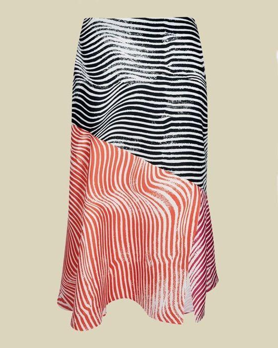Zebra printed contrast midi skirt