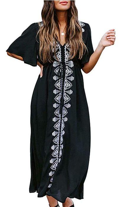 beach dress cover up loungerwear black