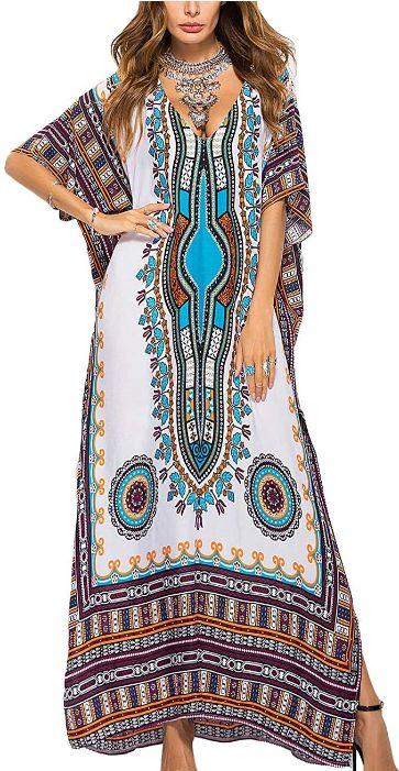 ethnic print beach dress