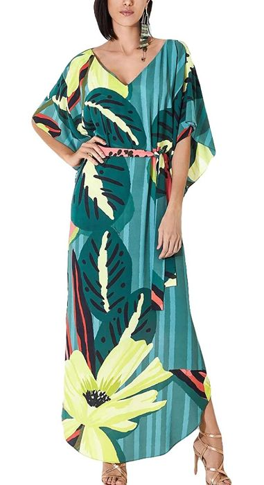 tropical print beach dress maxi