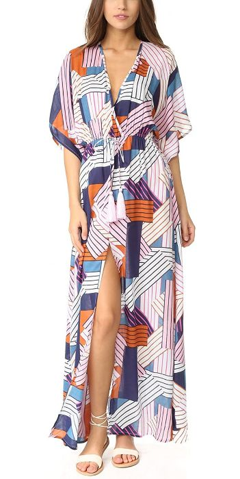 geometrical print turkish katan beach dress