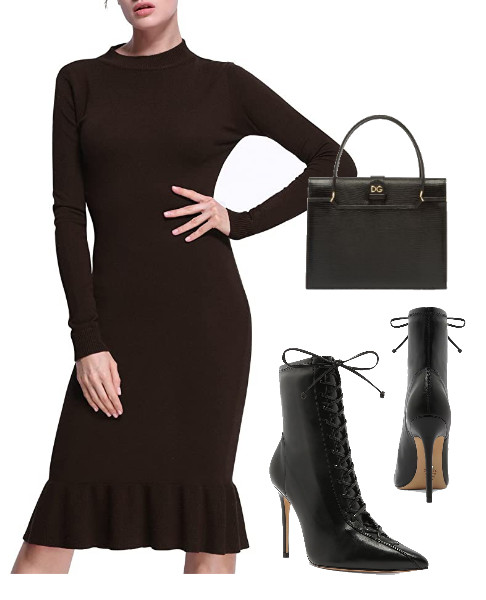 A Black Mermaid Sweater Dress