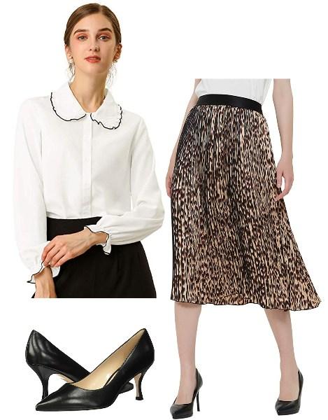 A-Line-Pleated-Midi-Skirt-Officewear