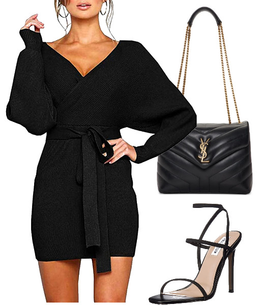 Batwing Long Sleeve Backless Mock Wrap Knit Sweater Mini Dress