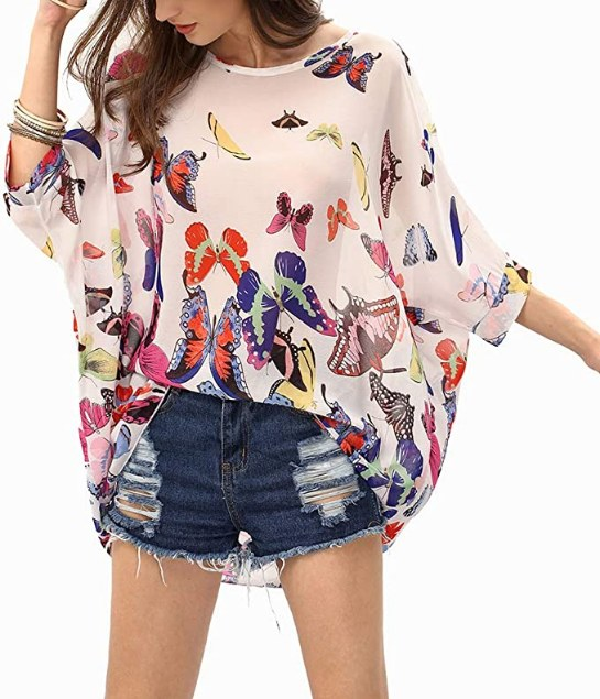 Batwing Sleeve Butterflies Printed Chiffon Caftan Poncho Tunic Top Beach Loose Shirt
