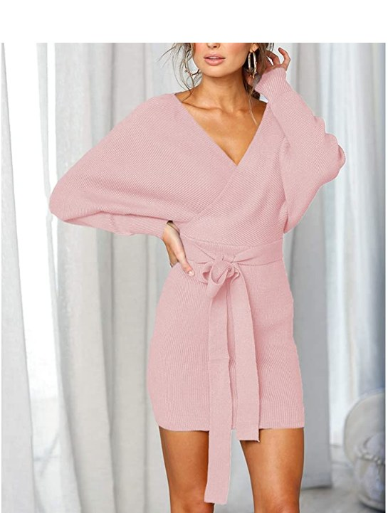 Batwing Wrap Knit Sweater Mini Dress