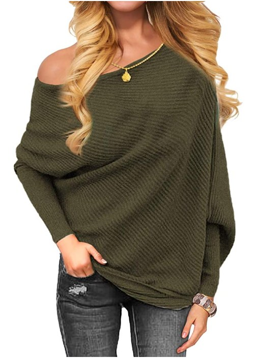 Off Shoulder Knit Baggy Sweater