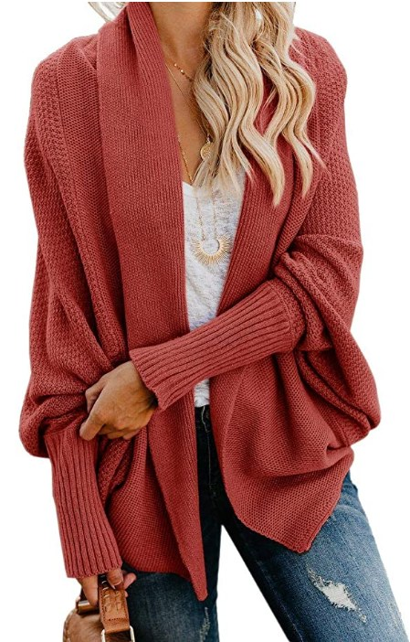 Oversized Open Front Batwing Chunky Knit Outwear