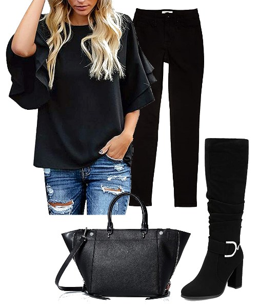 Tiered-Bell-Sleeve-Black-Top
