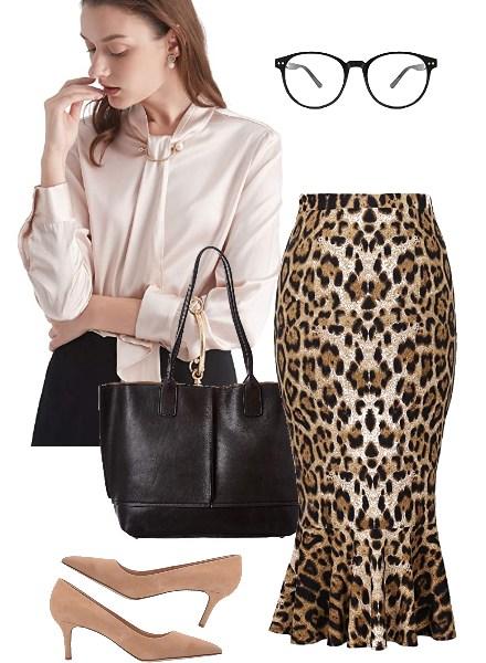 leopard-print-Midi-Pencil-Skirt