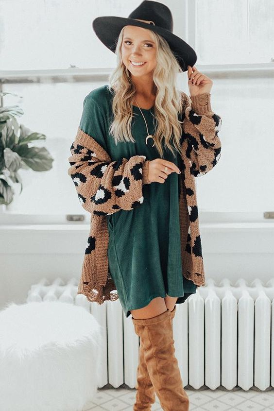 Leopard Print Cardigan Sweater Look3