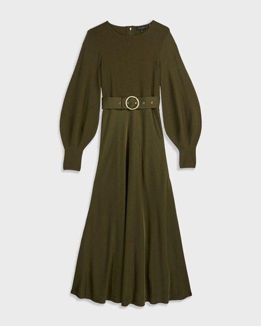 Belted-khaki-midi-dress