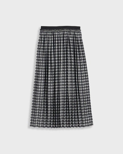 Checked-pleated-midi-skirt