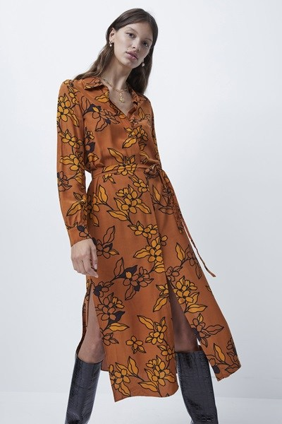 Cefara Drape Printed Shirt Dress