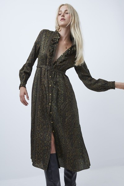 Erina Drape Ruffle Neck Dress