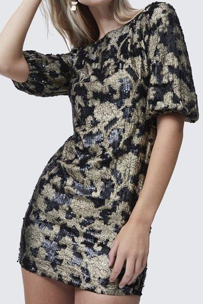 Alma Jacquard Sequin Mini Dress