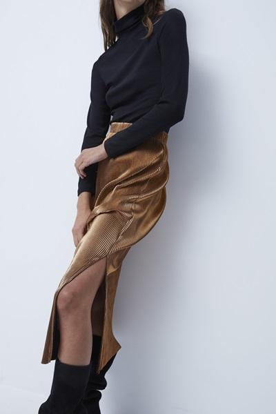 Taina Metallic Plisse Pleated Skirt