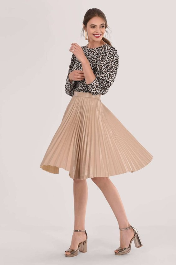 ponytail with Printed Top + Tan Pleated Skirt