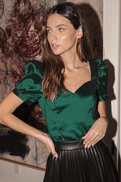 Emerald Green Puff Sleeve Top