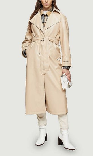 Erika single-breasted PU trench coat, Topshop