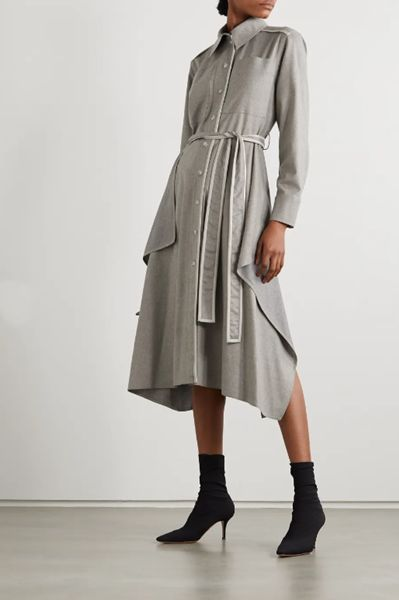 leather-trimmed-wool-flannel-shirt-dress