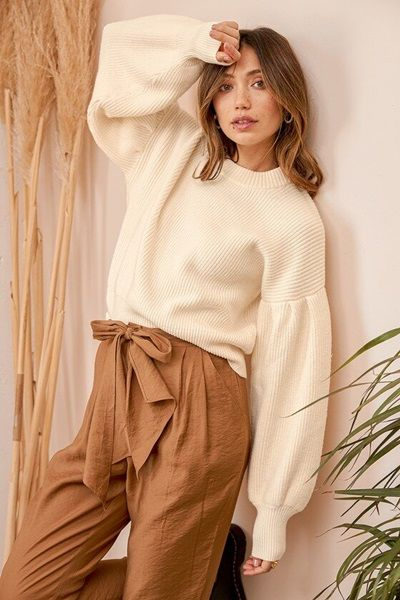 Ivory Ribbed Knit Balloon Sleeve Sweater