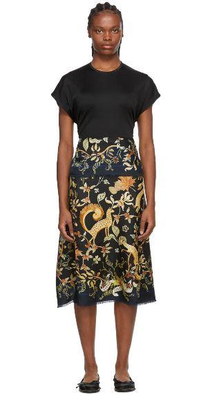 Lanvin Black Silk Print T-Shirt Dress
