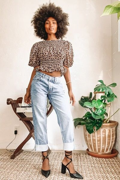 Leopard Print Smocked Puff Sleeve Top