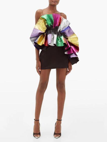 Recycled-glitter-ruffle-satin-slip-dress-Innovators