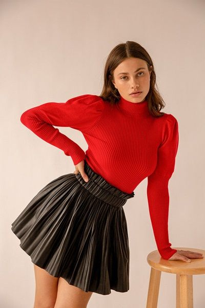 Red Puff Sleeve Turtleneck Sweater Top