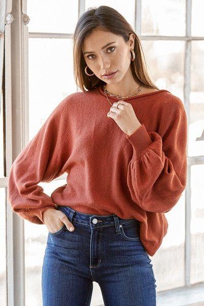 Rust Orange Knit Balloon Sleeve Sweater