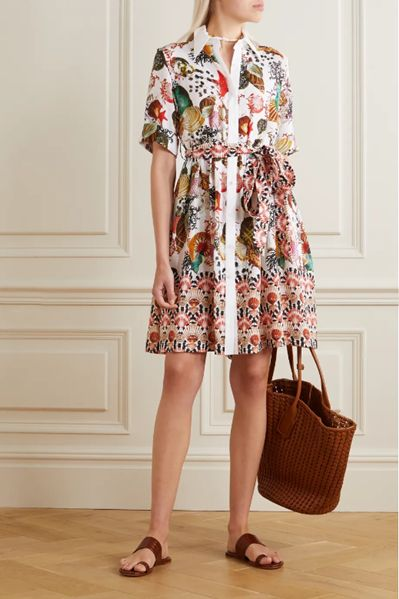 Cecilia belted printed linen shirt dress