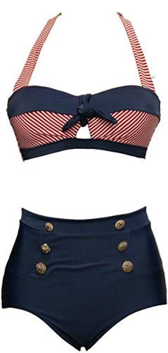 Retro Vintage Push Up High Waisted Bikini Swimsuit